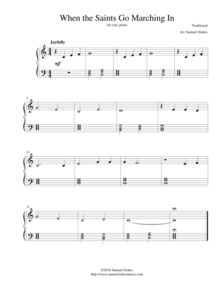 When the Saints Go Marching In - for easy piano