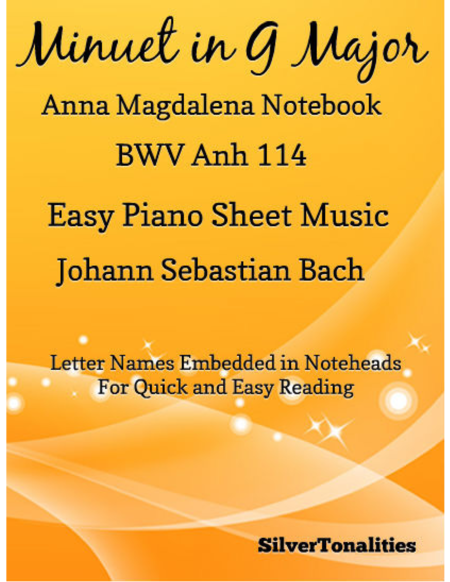 Minuet In G Major Anna Magdalena Notebook Easiest Piano Sheet Music
