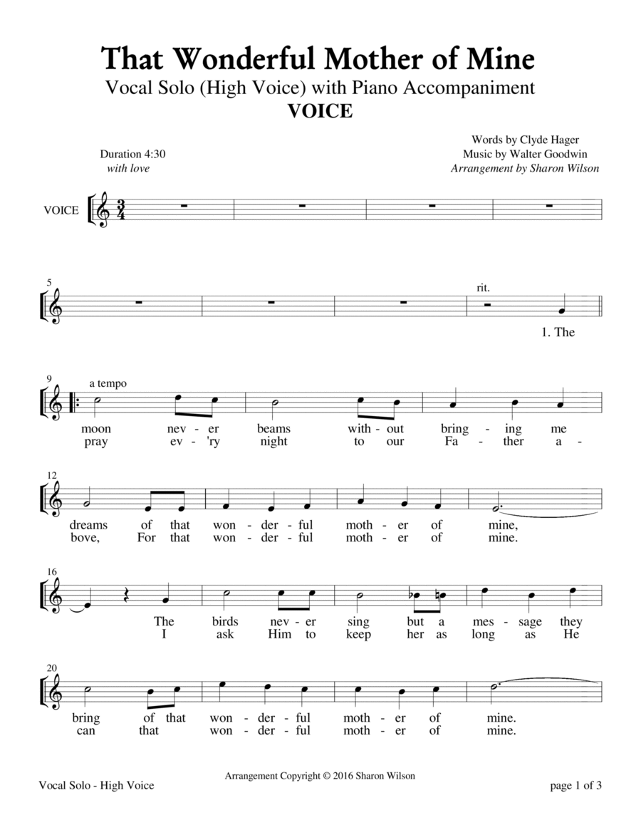 That Wonderful Mother of Mine - High Voice (Vocal Solo with Piano Accompaniment)