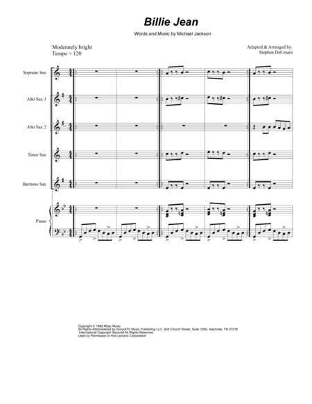 Billie Jean (for Saxophone Quintet)