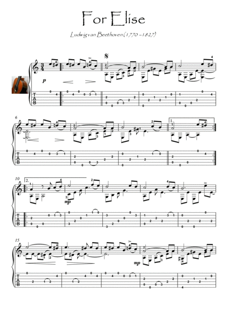 For Elise Guitar solo