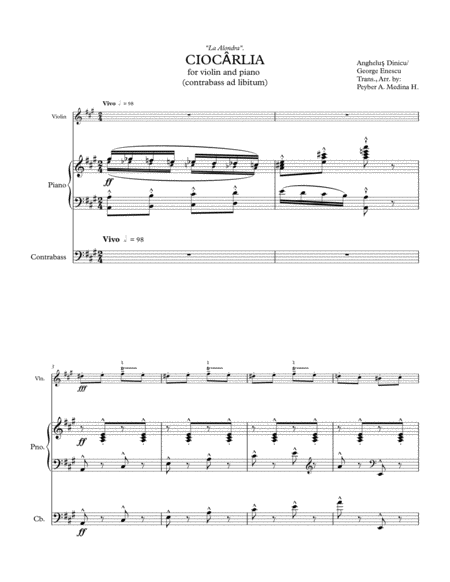 CIOCÂRLIA (La Alondra / The Skylark) Violin, Piano & Contrabass.