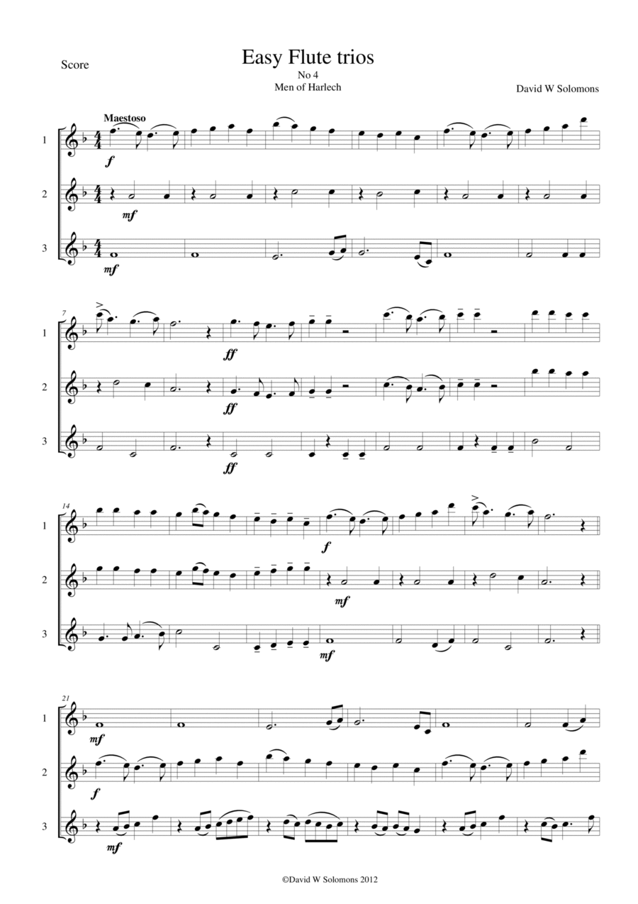 Men of Harlech (Rhyfelgyrch Gwŷr Harlech) for flute trio