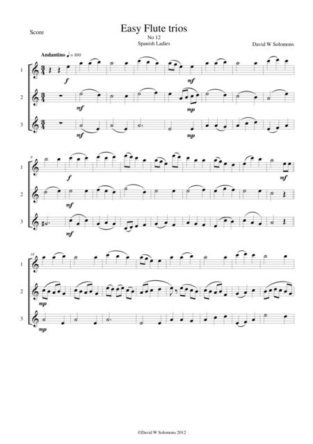 Spanish Ladies for flute trio