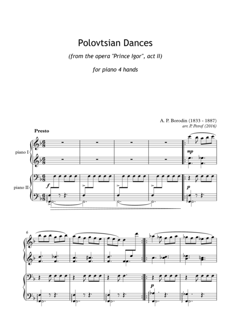 A. Borodin - ''Polovtsian Dances'' for piano 4 hands