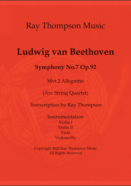 Beethoven: Symphony No.7 Op.92 Mvt.II Allegretto - string quartet