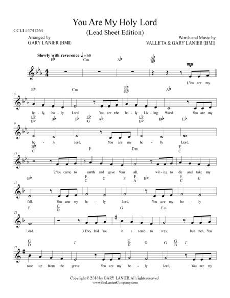 Gary Lanier: YOU ARE MY HOLY LORD (Worship - Lead Sheet with Melody, Lyrics and Chords )