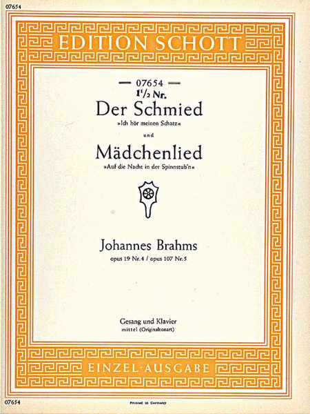 Der Schmied / Madchenlied, Op. 107/5 and Op. 19/4