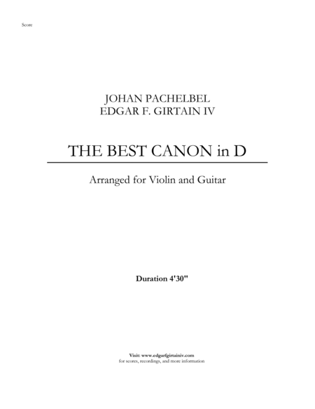 The Best Canon in D for Violin and Guitar (arranged)
