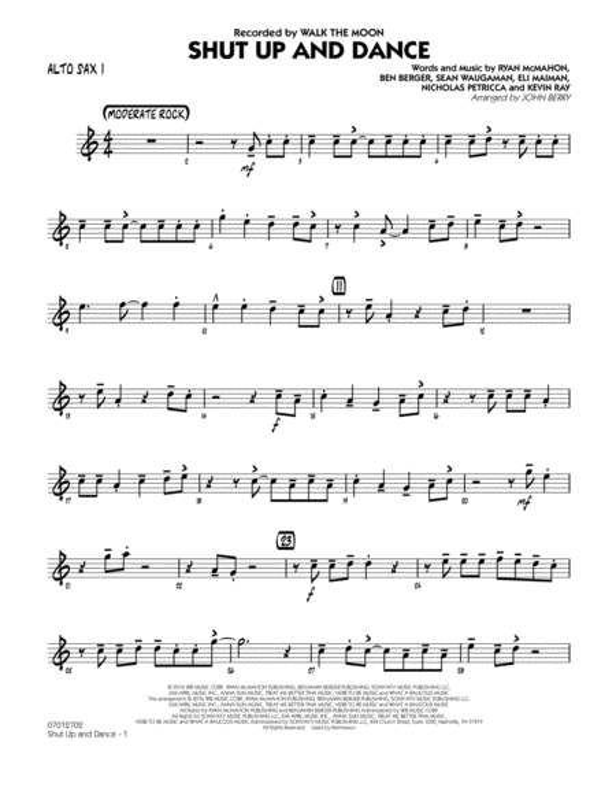 Shut Up and Dance - Alto Sax 1