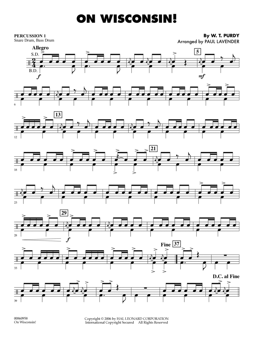 On Wisconsin! - Percussion 1