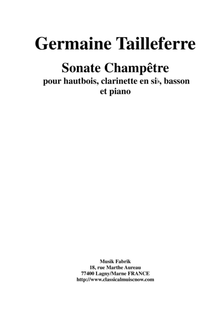 Germaine Tailleferre: Sonate Champêtre for oboe, clarinet, bassoon and piano