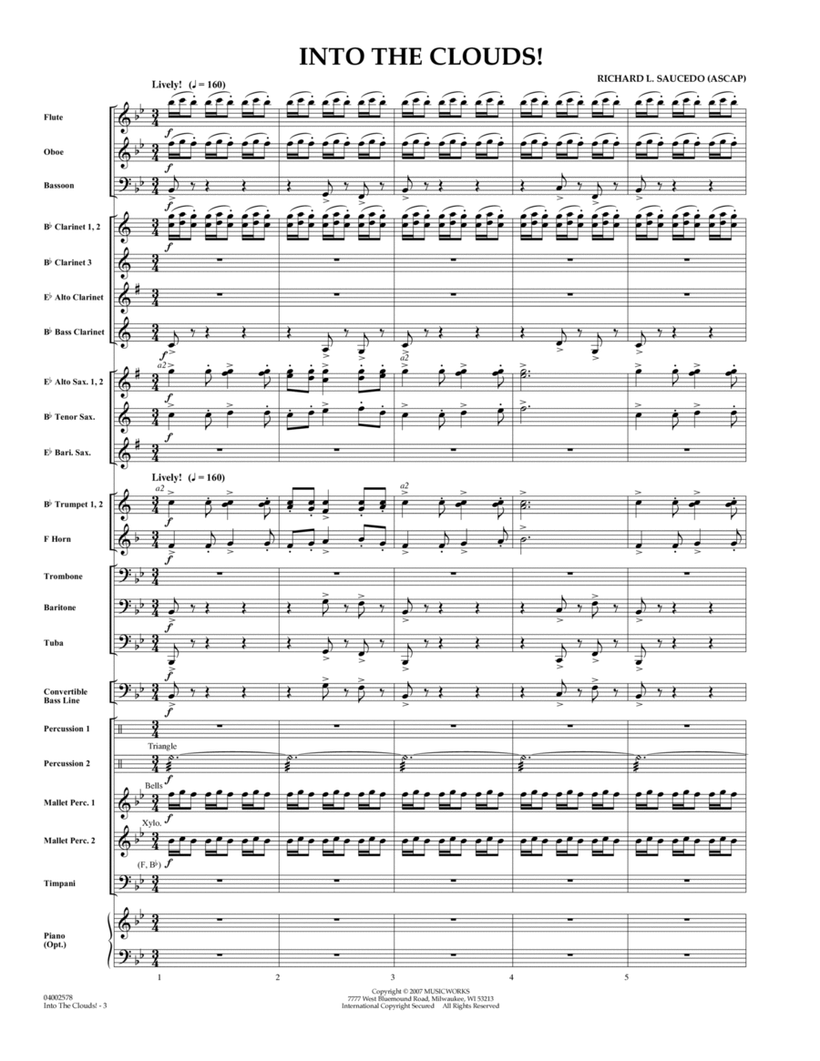 Into The Clouds!  W/cd - Full Score