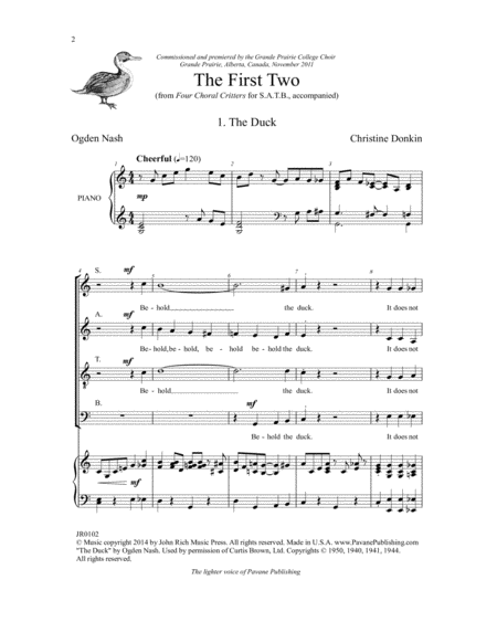 Four Choral Critters - The First Two