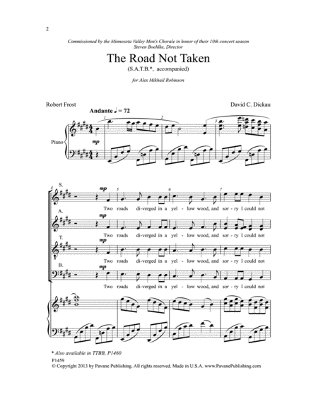The Road Not Taken - SATB