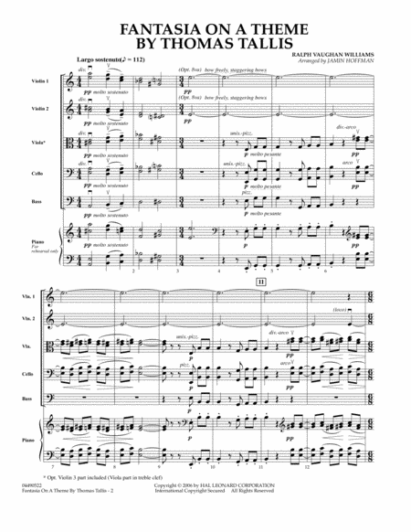 Fantasia on a Theme by Thomas Tallis - Full Score