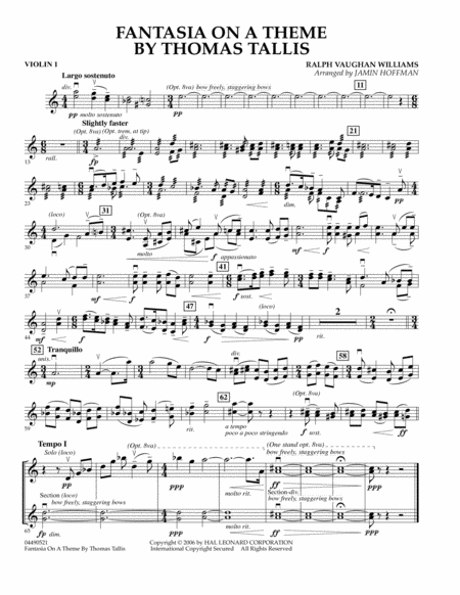 Fantasia on a Theme by Thomas Tallis - Violin 1