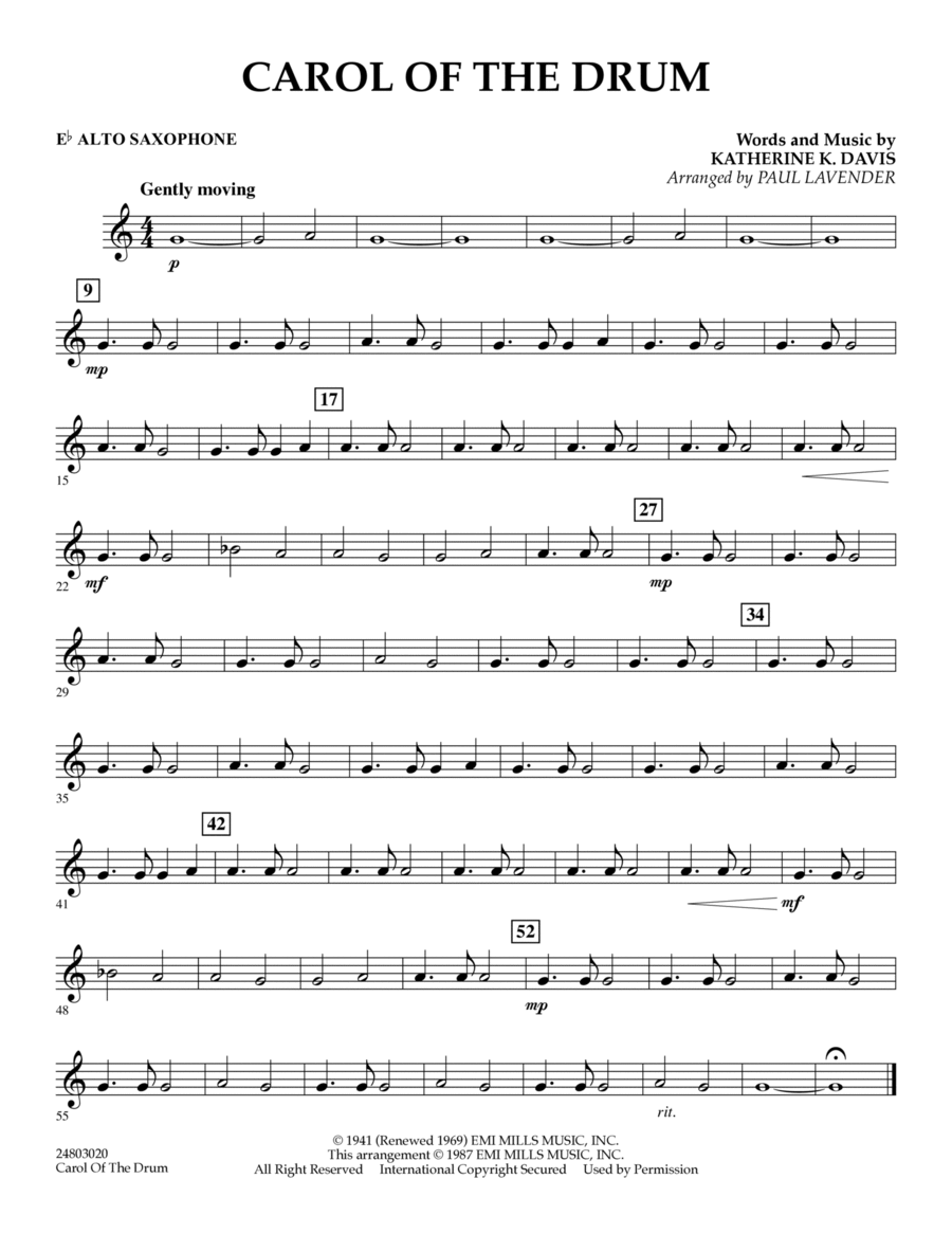 Carol of the Drum - Eb Alto Saxophone