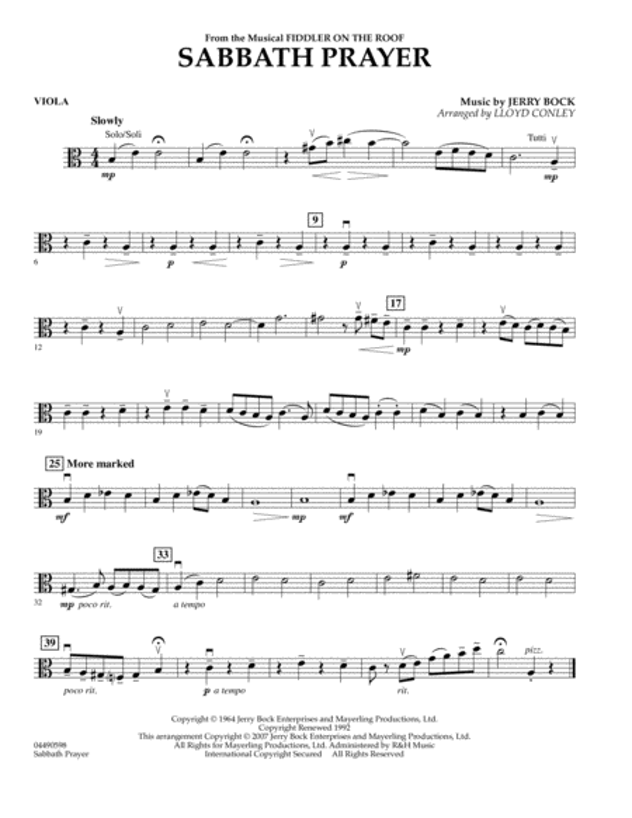 Sabbath Prayer - Viola