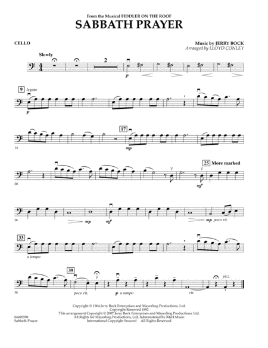 Sabbath Prayer - Cello