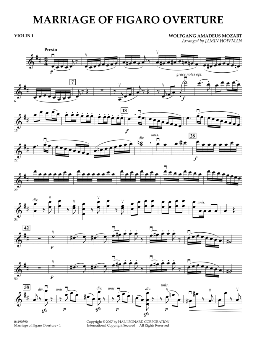 Overture to Marriage of Figaro - Violin 1