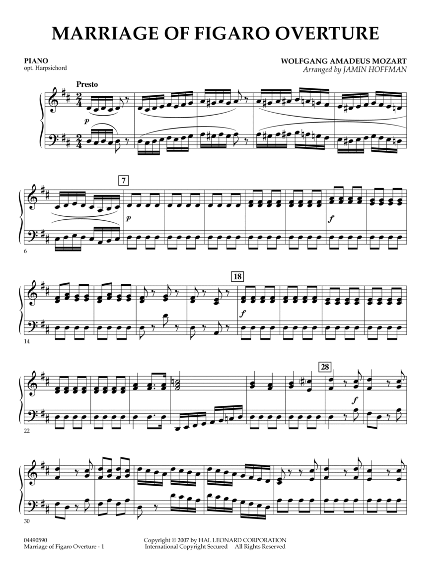 Overture to Marriage of Figaro - Piano