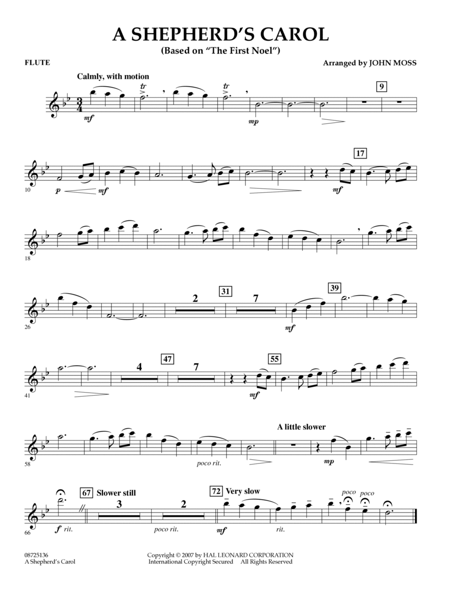 A Shepherd's Carol (Based On The First Noel) - Flute