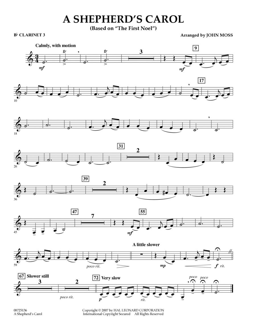 A Shepherd's Carol (Based On The First Noel) - Bb Clarinet 3