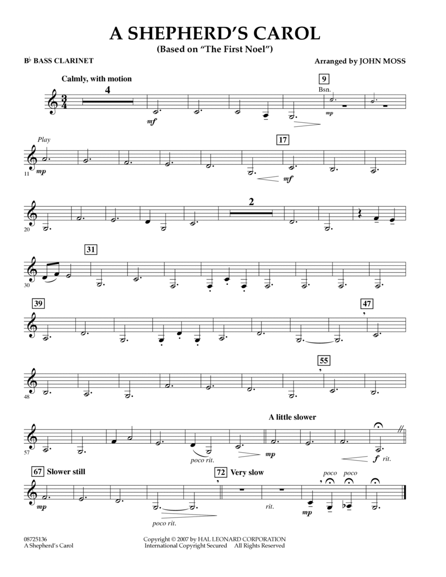 A Shepherd's Carol (Based On The First Noel) - Bb Bass Clarinet