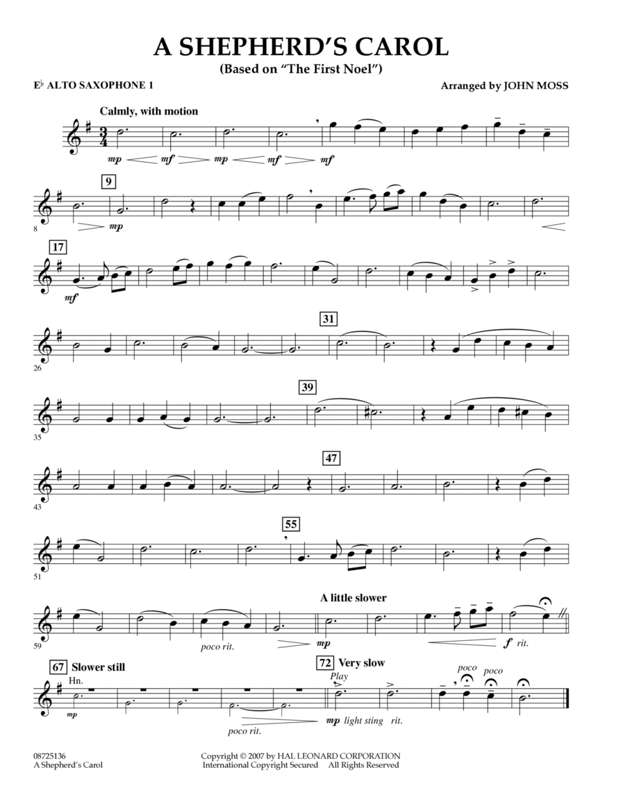 A Shepherd's Carol (Based On The First Noel) - Eb Alto Saxophone 1