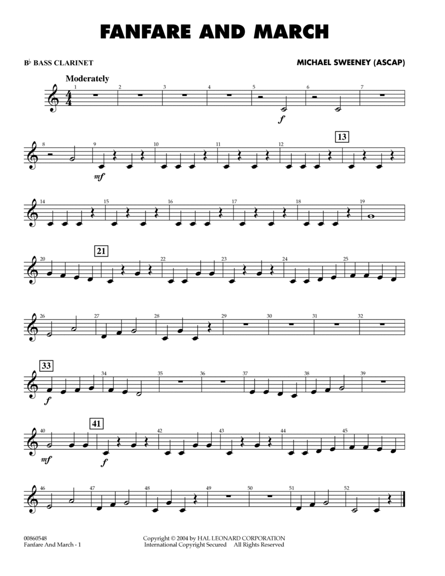Fanfare And March - Bb Bass Clarinet