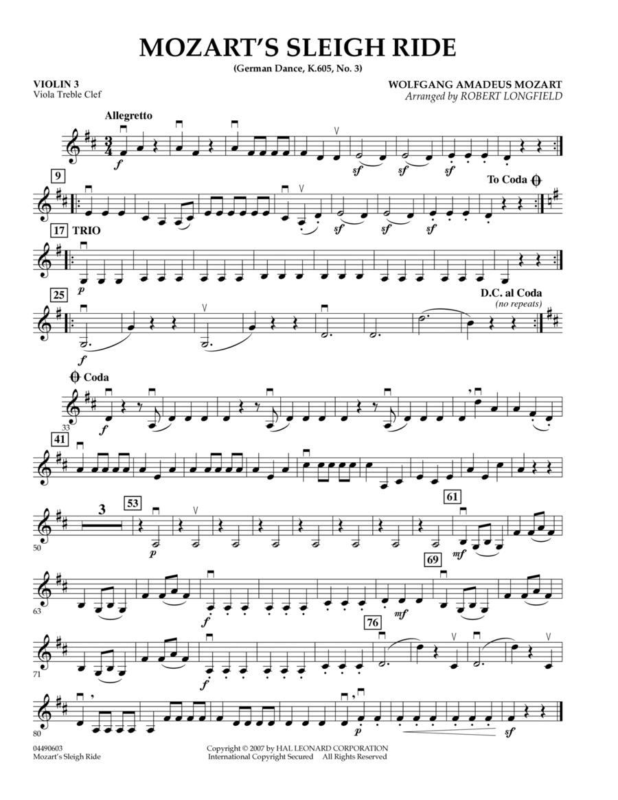 Mozart's Sleigh Ride (German Dance, K.605, No.3) - Violin 3 (Viola Treble Clef)