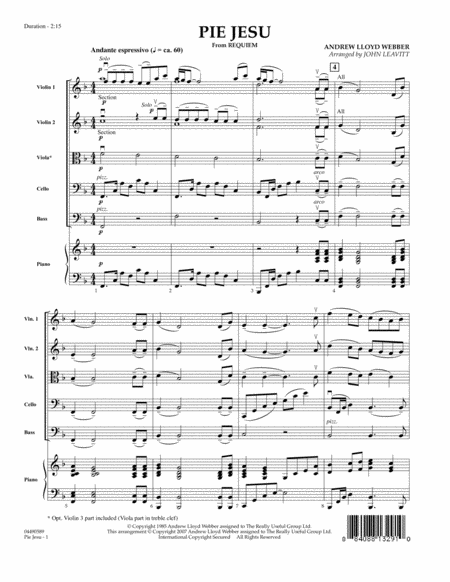 Pie Jesu (from Requiem) - Full Score