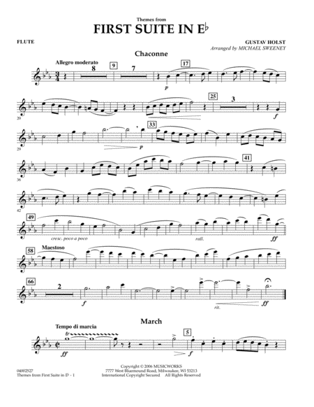 First Suite In E Flat, Themes From - Flute