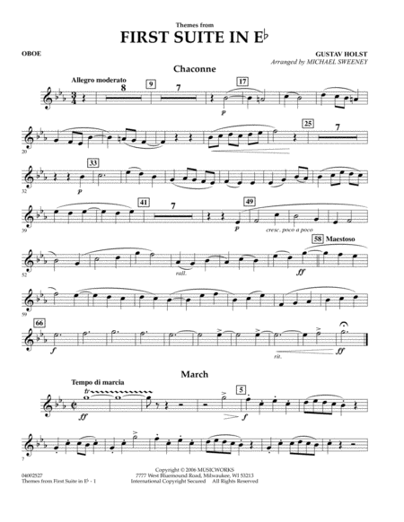 First Suite In E Flat, Themes From - Oboe
