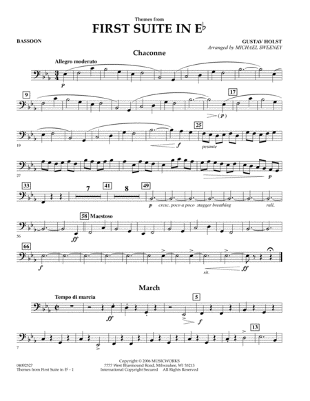 First Suite In E Flat, Themes From - Bassoon