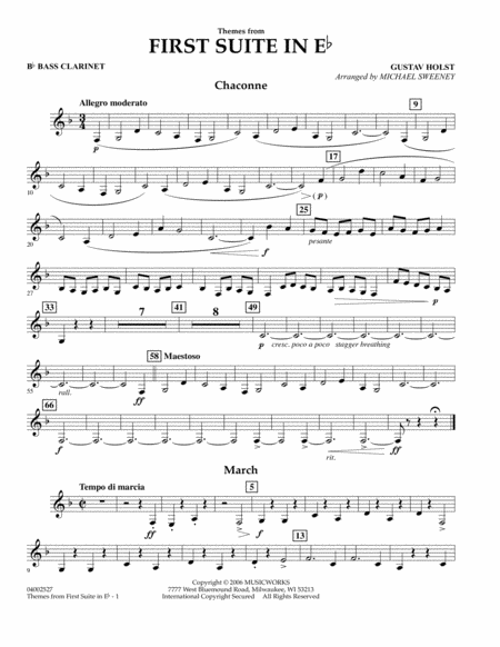First Suite In E Flat, Themes From - Bb Bass Clarinet