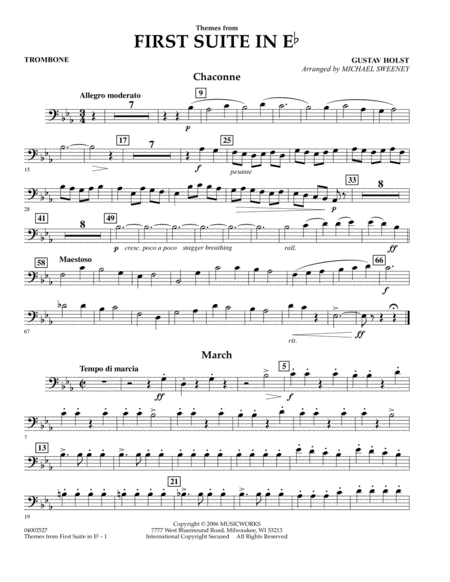 First Suite In E Flat, Themes From - Trombone