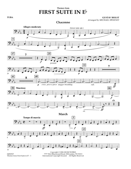 First Suite In E Flat, Themes From - Tuba