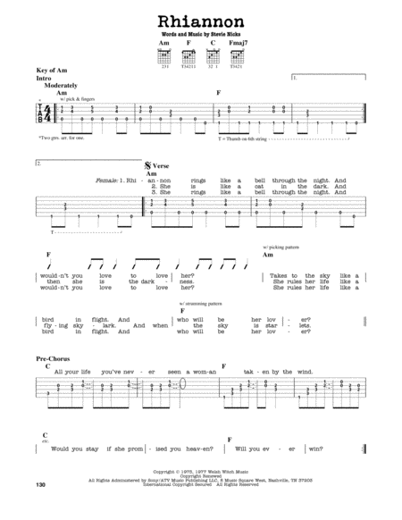 Download Rhiannon Sheet Music By Fleetwood Mac - Sheet Music Plus