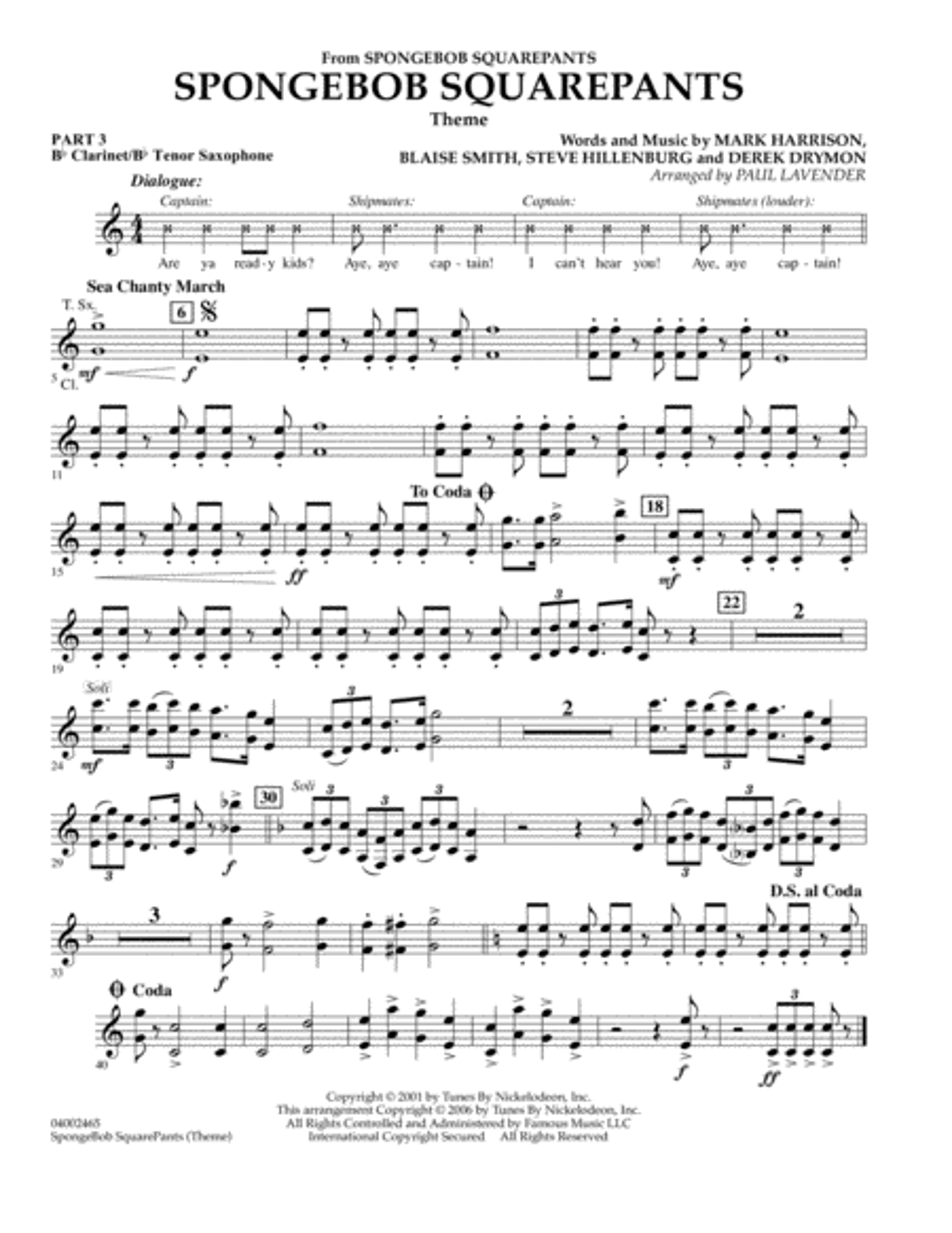 Spongebob Squarepants  (Flex-Band) - Pt.3 - Bb Clarinet/Tenor Sax