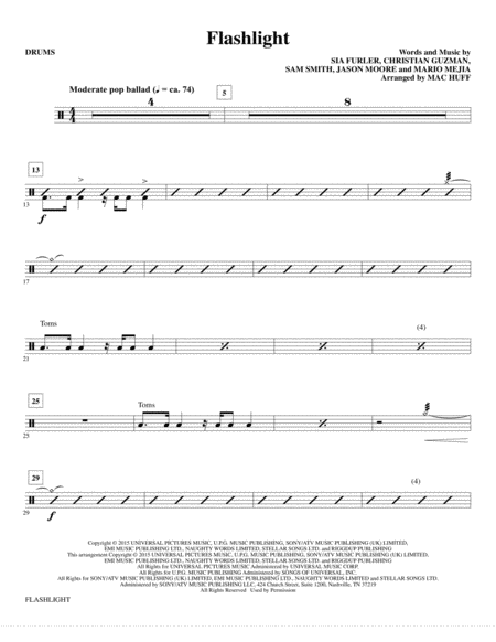 Violin violin chords for flashlight : Download Flashlight - Drums Sheet Music By Jessie J - Sheet Music Plus