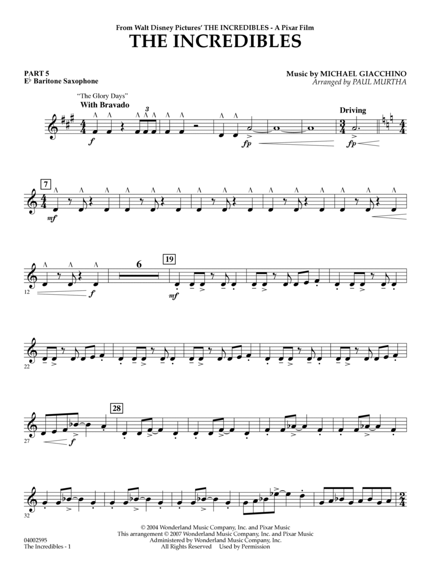 The Incredibles - Pt.5 - Eb Baritone Saxophone