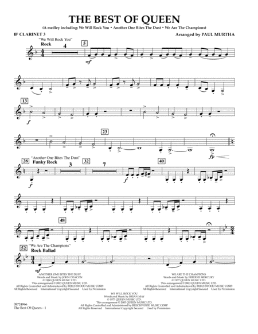 The Best of Queen - Bb Clarinet 3
