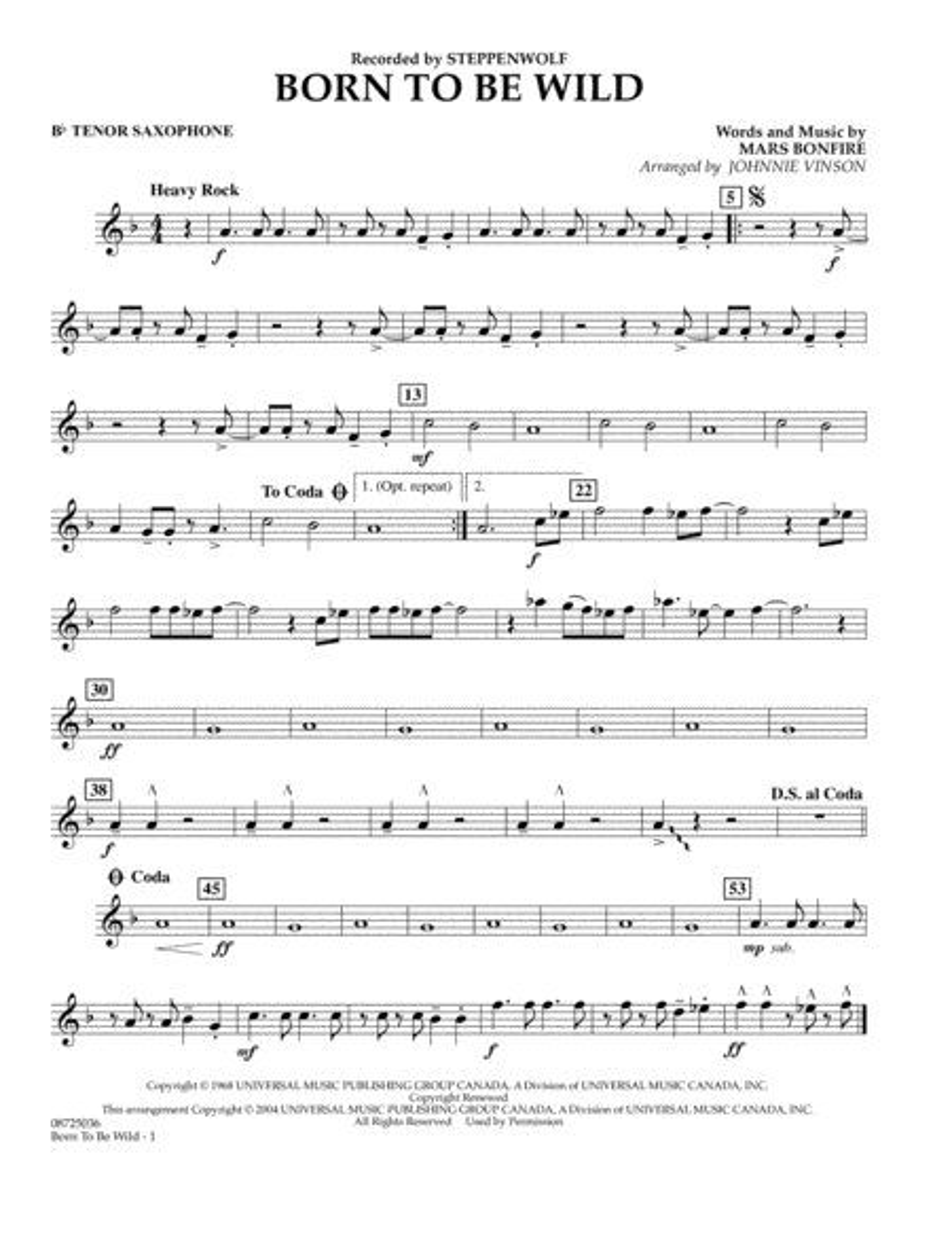Born to Be Wild - Bb Tenor Saxophone