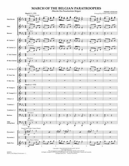 March Of The Belgian Paratroopers - Full Score
