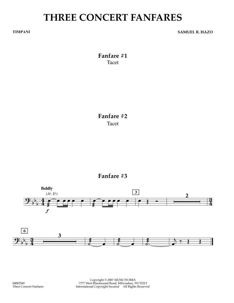 Three Concert Fanfares - Timpani
