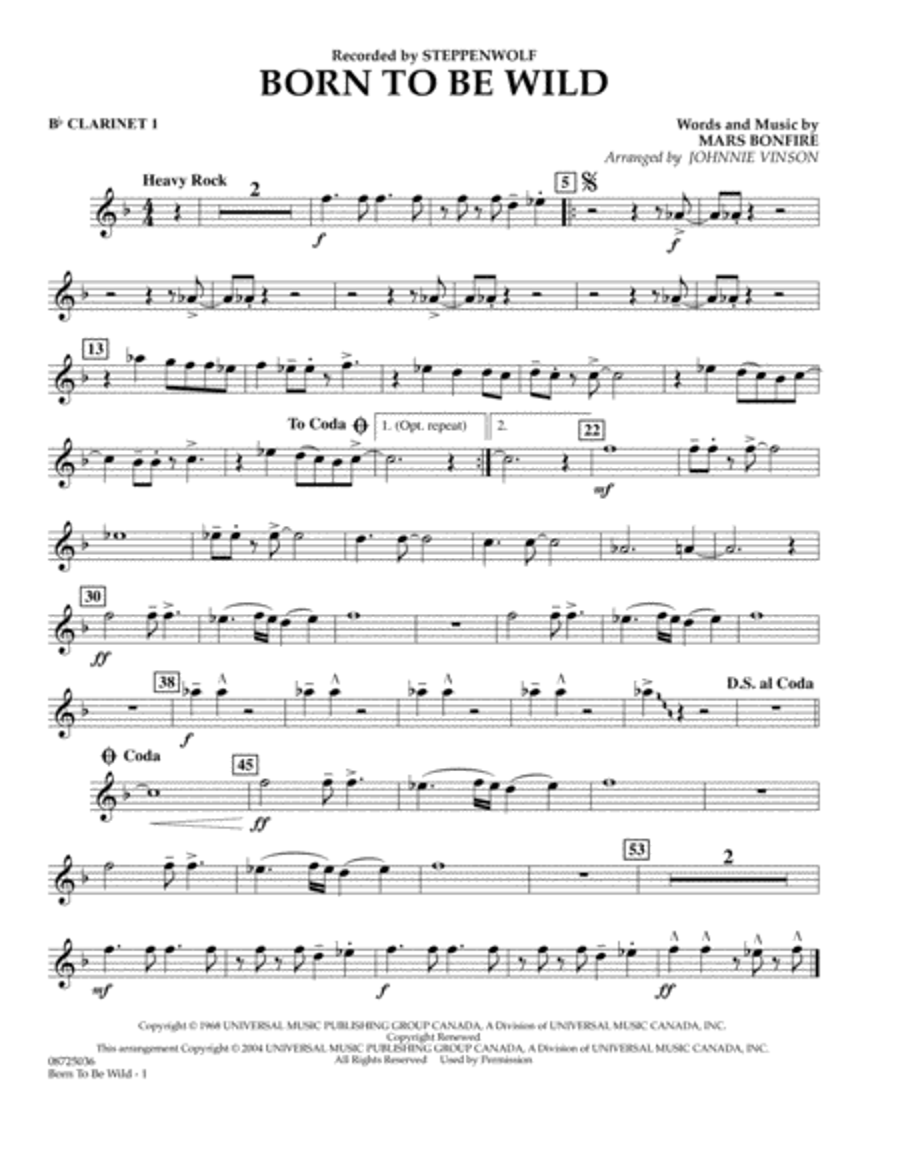 Born to Be Wild - Bb Clarinet 1