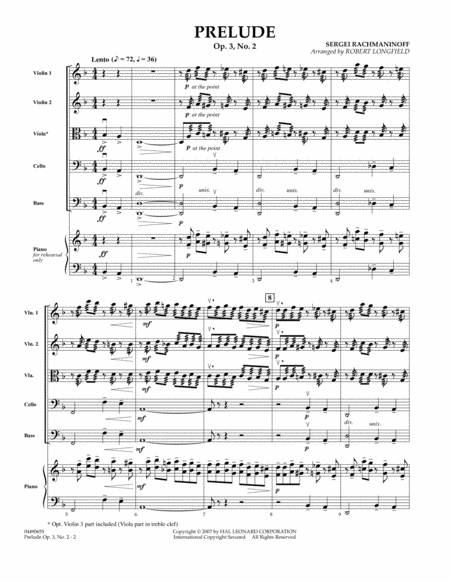 Prelude Op.3, No. 2 - Full Score