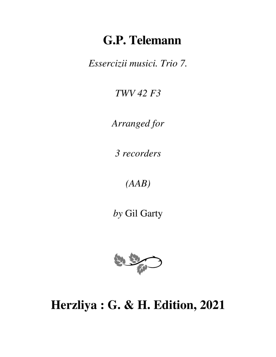 Trio sonata TWV 42:F3 (Essercizii musici, trio no.7) (arrangement for 3 recorders)